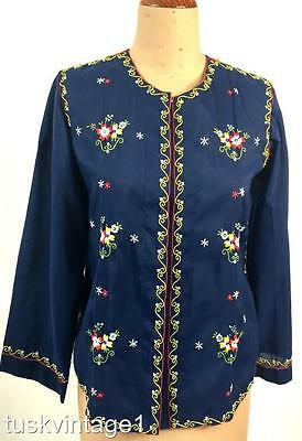 VINTAGE Chinese HAND EMBROIDERED light NAVY ethnic BLOUSE shirt top 10