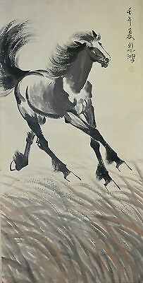Vintage Chinese Running Horse Wall Hanging Scroll Painting