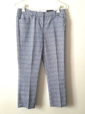 New Womens Dalia Size 2 Blue White Modern Fit  Crop Capri Pants Dress Career