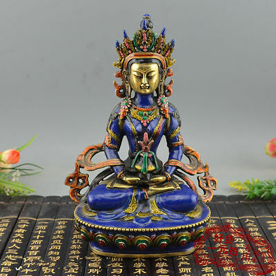 Beautiful 8.66 inch / China hand-carved cloisonne buddhist statue