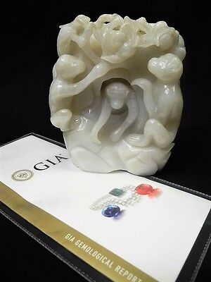 Large 19th-20th Century Fine CHINESE WHITE JADE Pierced Carving Monkeys Scholar