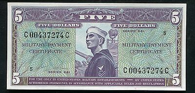 Series 681 $5 Five Dollars Mpc Military Payment Certificate Gem Uncirculated