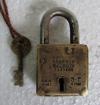 Vintage Harrison 7 lever Brass Padlock With 1 key Collectible