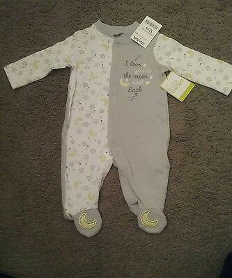 New Baby Starters Sleeper Pajamas Love You to Moon and Back Gray Size 3 Months