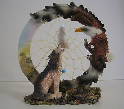 Resin Dream Catcher Wolf and Eagle Figurine Stand 8""