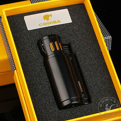 COHIBA Black 3 Torch Flame Jet Cigar Cigarette Lighter With Punch