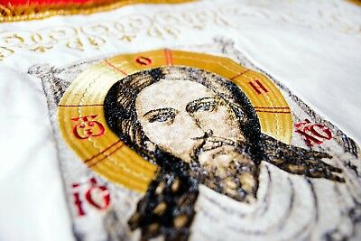Chalice Covers Veils Orthodox  Embroidered White color , with Icon Of Christ
