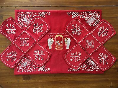 Chalice Covers Orthodox  Embroidered  red color , with silver thread, with icon