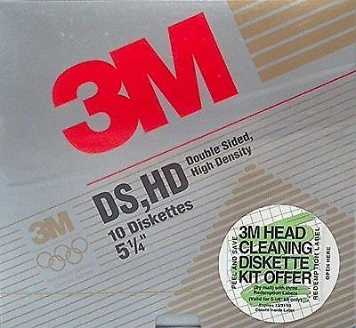 3M High Density DS, HD Floppy 5 1/4 Diskettes 10 Pack New Free Shipping