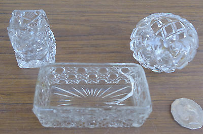 3 X Vintage Crystal Cut Glass, Trinket Pots.  Very Old, Collectible