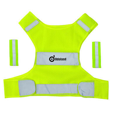 Adjustable Safety Security Reflective Vest Jacket Arm Band Night Running-S
