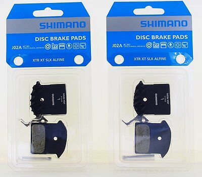 2 Packs Shimano J02A Disc Brake Resin Pad w/Fin for M9000 M8000 M7000 as F01A