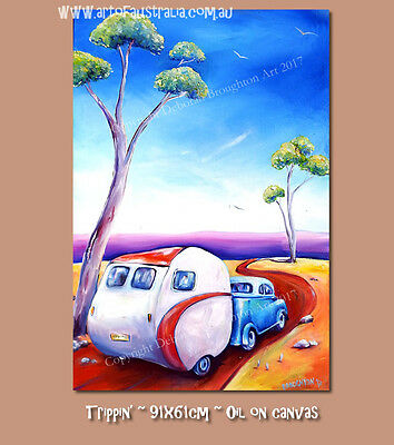 DEBORAH BROUGHTON ART New Original Oil Surf Vintage Car and Caravan Painting