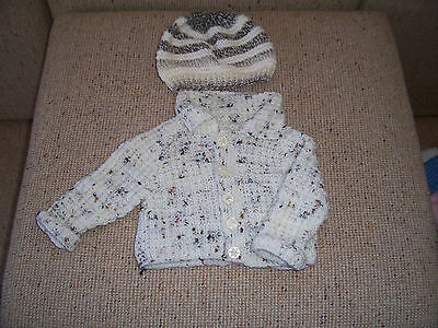 New Baby Hand Knitted Cardigan With  & Beanie Cream  Fleck  0-3 Months Approx