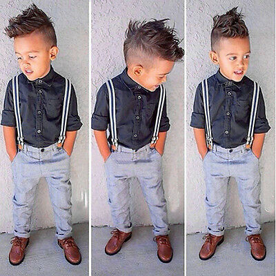 3PCS Kids Boys Long Sleeve Shirt Tops+Braces+Pants Clothes Party Birthday Outfit