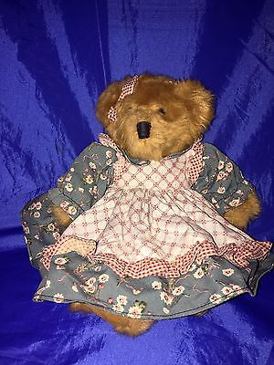 "Russ Mulberry Plush Teddy Bear 11"" Bears From the Past lovely dress"