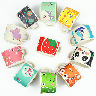 Baby Cup Bamboo Drinkware with Handle Kids Feeding Train Cup Cartoon BPA Free er