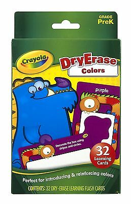 Crayola Dry-Erase Learning Flash Cards 32/Pkg-Colors New Free Shipping