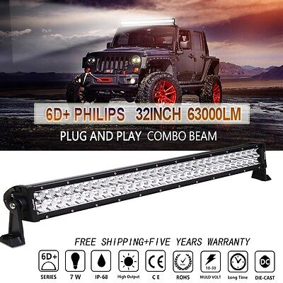 32inch Philips 420W LED WORK LIGHT BAR SPOT FLOOD COMBO SUV UTE ATV 30/34