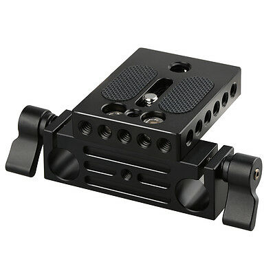 CAMVATE Camera Baseplate With 15mm Railblock For DSLR Rig 15mm Rod Rail Support