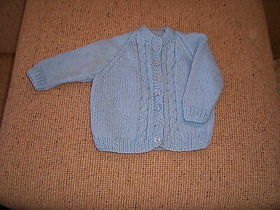 New Hand Knitted Baby Cardigan  Blue 3 -6   Months App