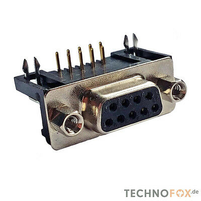 5 pcs Sub-D Connector 9-POLIG Angle RM7, 2 Gold Plated Contacts