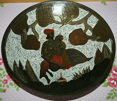 Vintage Solid Brass Indian Plate/Dish Enamel Wall Hanging