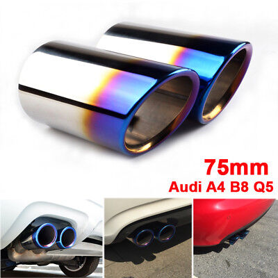 Stainless Steel Blue Rear Chrome Exhaust Tail Muffler Tip Pipe for Audi A4 B8 Q5