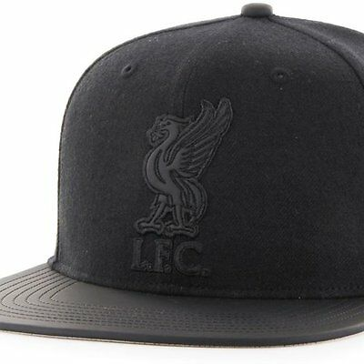Liverpool FC Adjustable Flat Cap by 47 Black on Black
