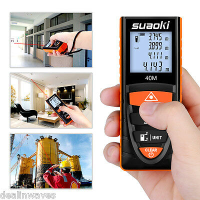 40m Digital Laser Distance Meter Range Finder LCD Measure Diastimeter|+Belt Clip