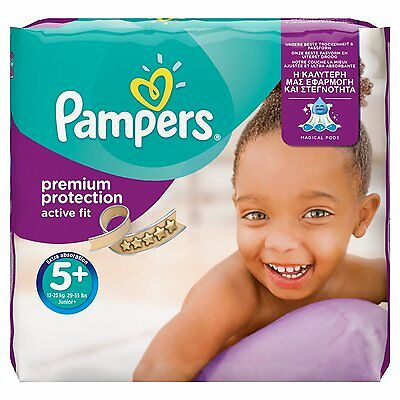 Pampers Active Fit Size 5 + Junior Plus Monthly Saving Pack 124 Nappies Free P&P