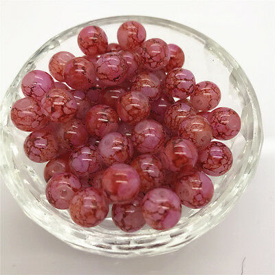New DIY 8mm 30 Pcs Round Pearl Loose Beads Double Colors Glass Jewelry Making#36