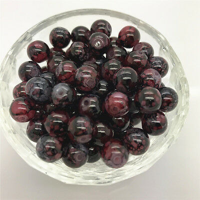New DIY 8mm 30 Pcs Round Pearl Loose Beads Double Colors Glass Jewelry Making#14