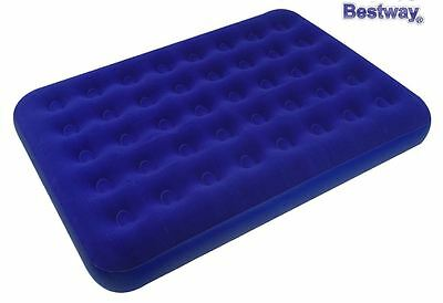 Inflatable Double Blue Flocked Air Bed Camping Luxury Relaxing Airbed Mattress