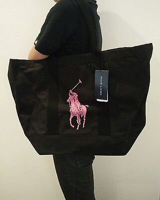 Polo Ralph Lauren Pink Pony Big Black Shopping Bag Tote VIP Member Limited NEW