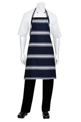 Chef Works Butchers Stripe Apron Navy Blue