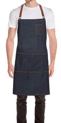 ChefWorks Blue Denim Cross Back Apron Restaurant Hotel Cafe