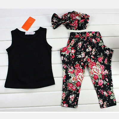 Kids Girls Shirt+Floral+ HeadbandOutfit Pants Holidays Dance Music Party Set