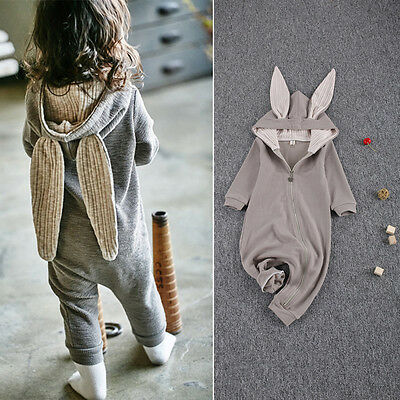 Infant Baby Girl Boy  Rabbit Hooded Romper Jumpsuit Sleepwear