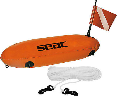 Seac Torpedo Bouy with Flag and Line - Divers Marker - Diving Spearfishing SMB B