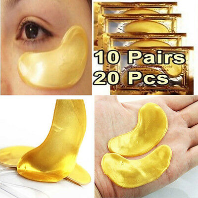 10 Pair Crystal Collagen  Gold Under Eye Gel Pad Face Mask Anti Aging Wrinkle UP