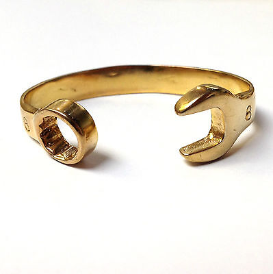 9CT GOLD ON JEWELLERS BRONZE BABY BOYS 8mm SPANNER BANGLE HANDMADE 14cm CHILDS
