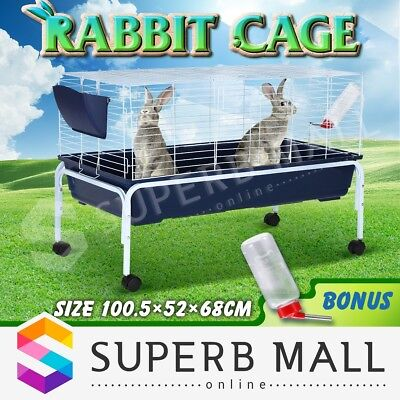 100cm Bunny Rabbit Cage Hutch Inchilla Guinea Pig House Water Bottle with Stand
