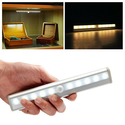 4x Wireless Battery Powered PIR Motion Sensor 10 LED Night Light  Wall Lamp