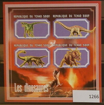 S0 1266 Dinosaurs Chad MNH 2001 Prehistoric Animals Imperforated