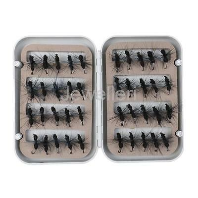 40pcs Fly Fishing Lure Set Ant Dry Flies with Box Bass Trout Fishing 2 Color