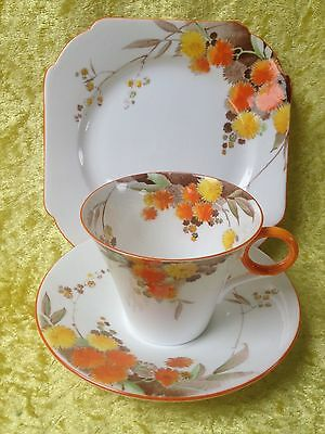 Shelley W12255 ACACIA Art Deco Tea Cup Saucer Plate Trio