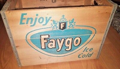 Vtg 60's Faygo Soda Pop Wooden Crate Detroit, Mich BRIGHT GRAPHICS Advertising