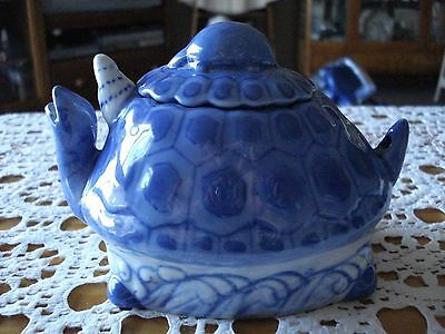 Small Blue & White Chinese Ceramic Turtle Teapot - (no handle)