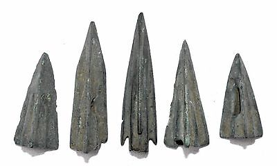 Lot Of 5 Ancient Bronze Arrow Heads - Superb Ancient Historical Artifacts - G50